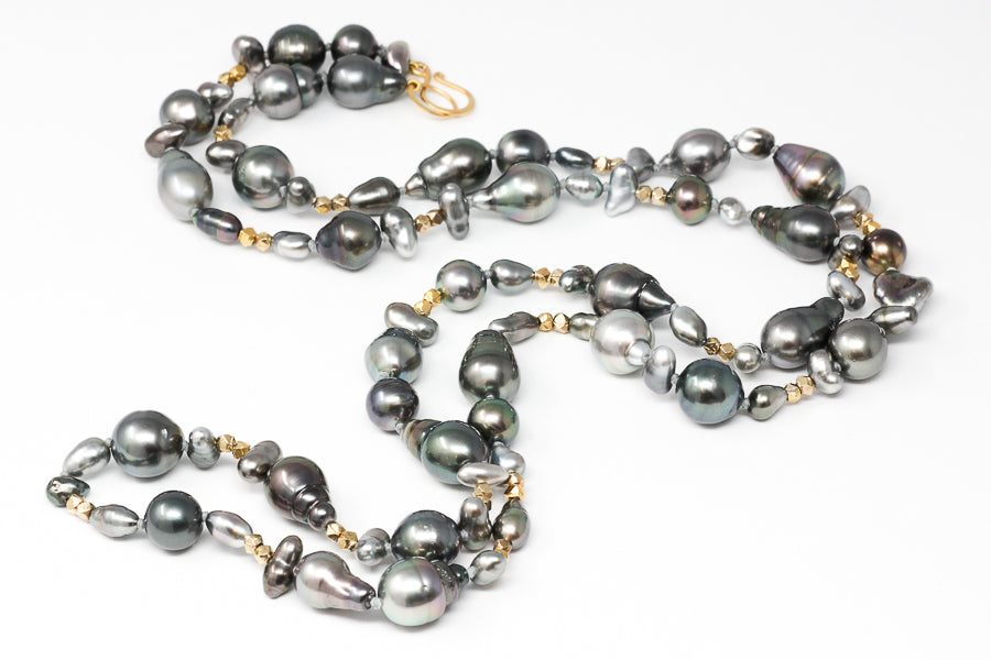 Calm and Strength Tahitian pearl rope necklace