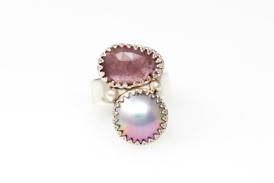 sea of cortez mabé ring with pink tourmaline #2