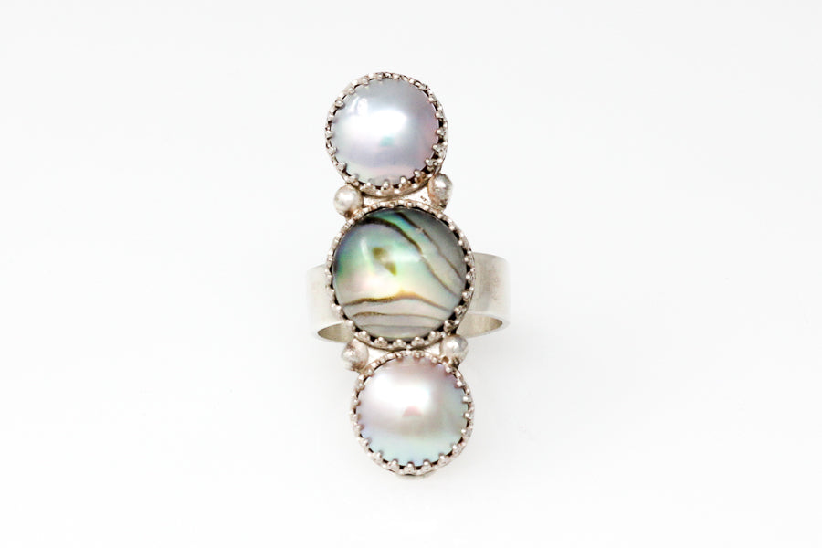 sea of cortez mabé pearl ring with abalone shell