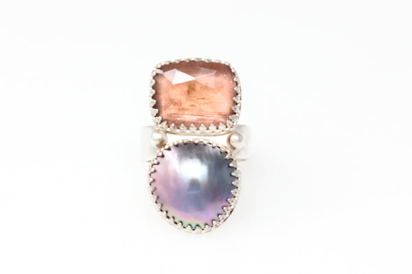 sea of cortez mabé ring with pink tourmaline #3