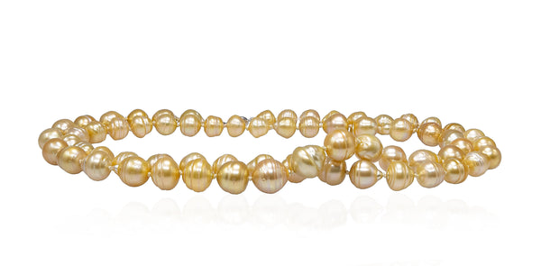 Moonlight Champagne Golden South Sea pearl necklace rope-3