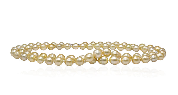 Moonlight Champagne Golden South Sea pearl necklace rope-2