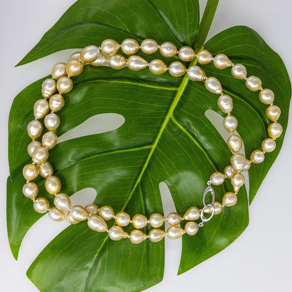 Moonlight Champagne Golden South Sea pearl necklace rope-1
