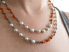 vintage coral and Akoya pearl wrap necklace
