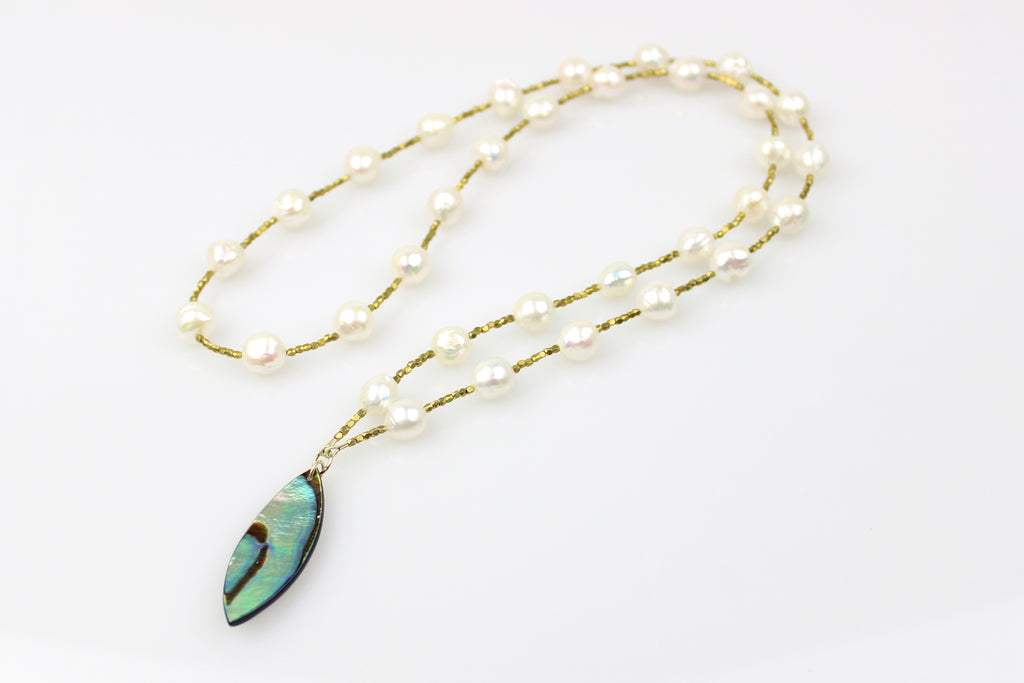 abalone charm and chinese freshwater pearl drape necklace