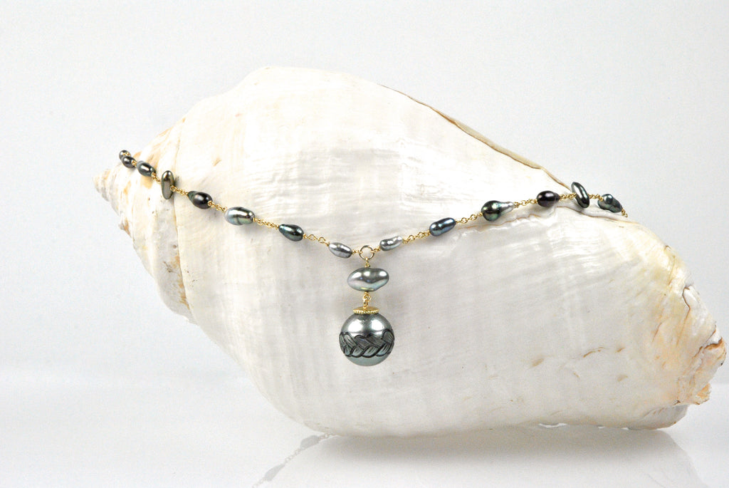 carved with a braid Tahitian pearl wrap necklace