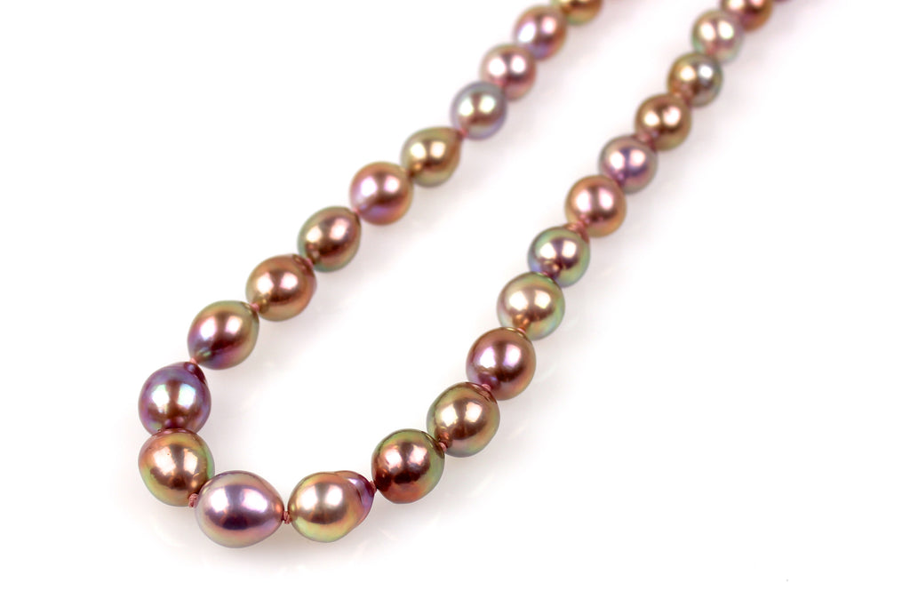 purple metallic luster fresh water drop pearl necklace