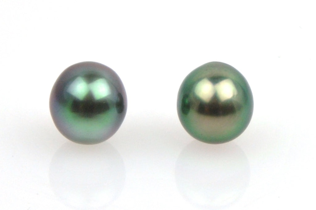 tiny oval tahitian pearl pair