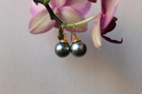 two tone big silver tahitian pearl dangle earrings