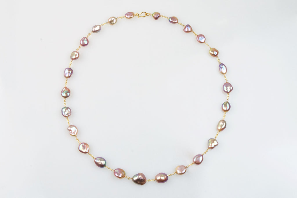 maximum metallic luster pink pearl necklace