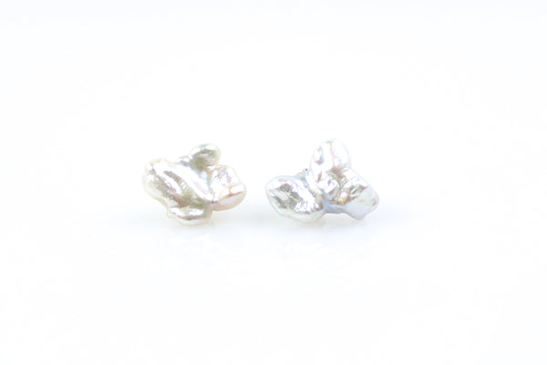 silver lining natural color chinese freshwater pearl stud earrings