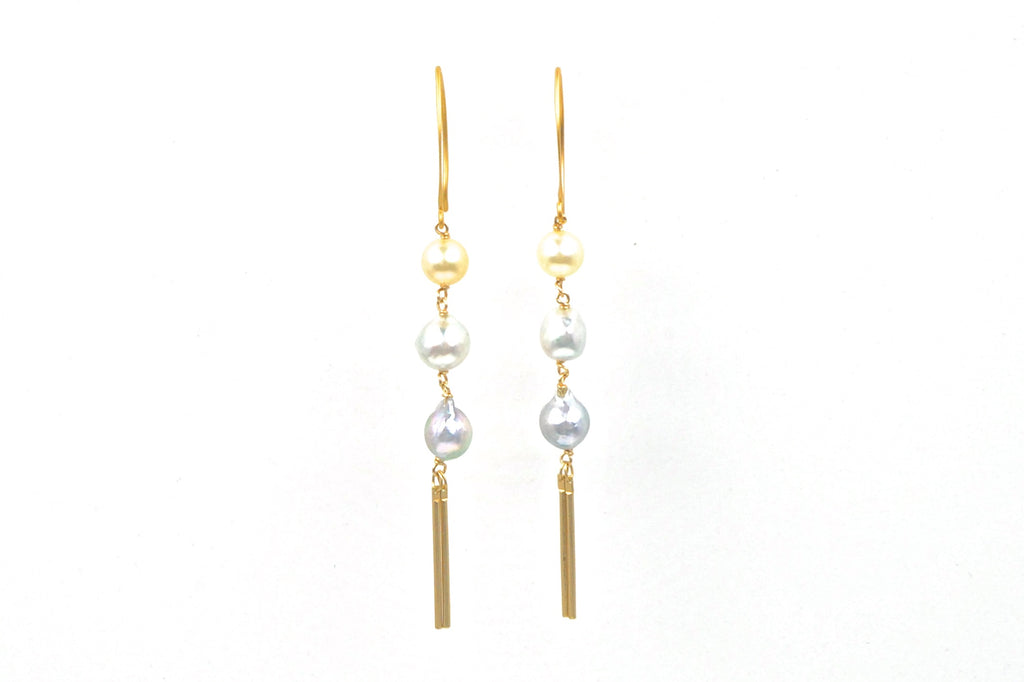 japan akoya fringe golden bar earrings
