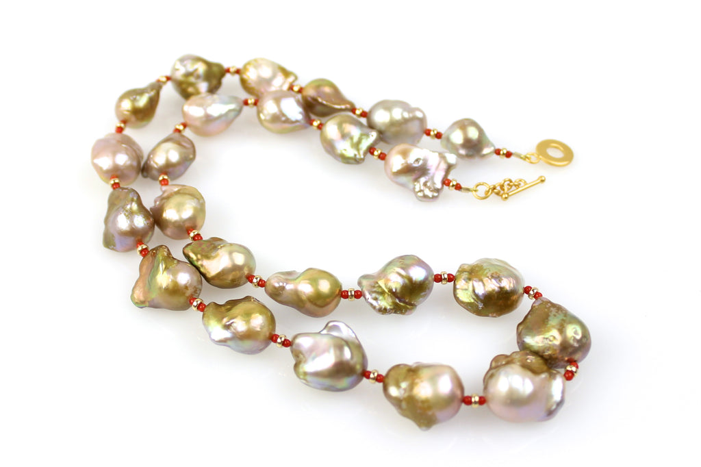 bronze pearl and coral sunrise necklace