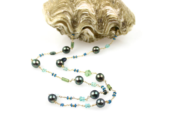 earth's children green tourmaline and tahitian pearl necklace