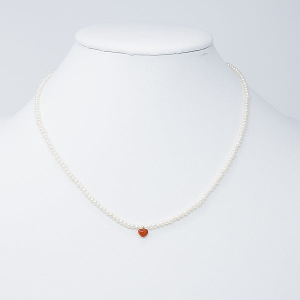 Love yourself delicate coral heart necklace