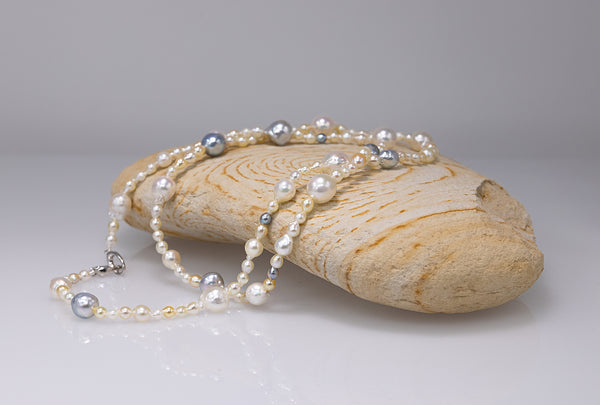 Baroque and keshi Akoya FUN long necklace