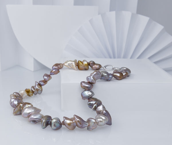 Colorful Doublet Chinese Freshwater Baroque Pearl Necklace