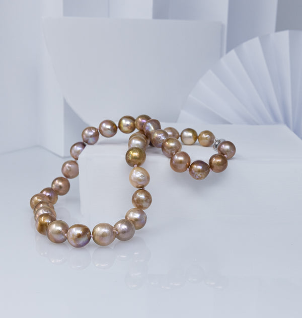 Golden Pondslime Freshwater pearls necklace