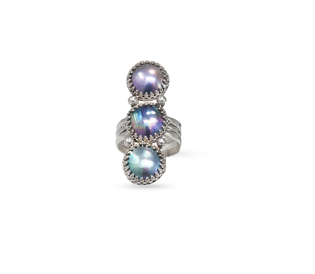stunning triple mabé pearl stacked ring