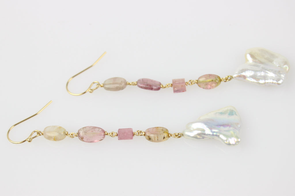 petal tourmaline and keshi pearl dangle earrings