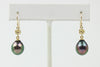 dark rainbow high luster Tahitian pearl dangle earrings