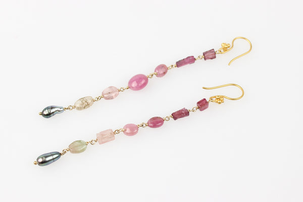 tahitian keshi curtain earrings with ruby, pink and green tourmaline