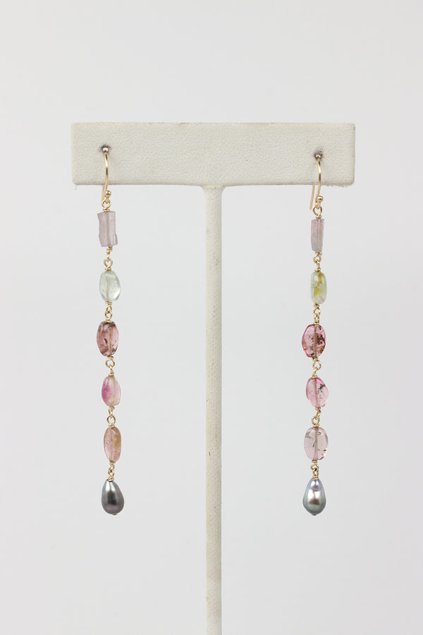 rustic tahitian keshi drop earrings with soft pink tourmaline