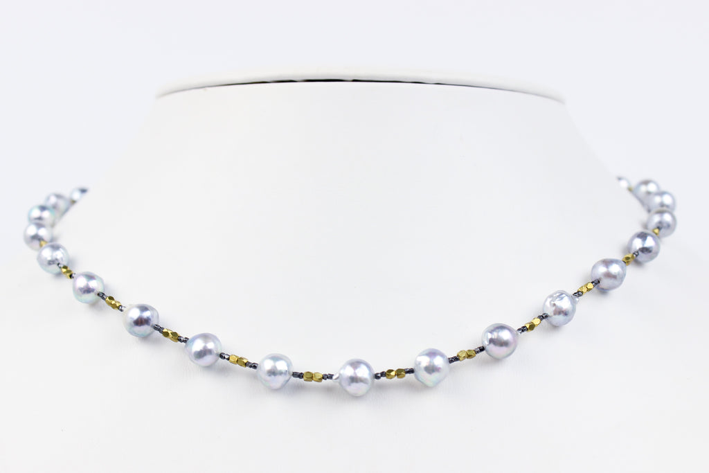 akoya bliss sterling and brass accent necklace