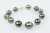 BRILLIANT PEACOCK TAHITIAN PEARL GOLD WRAP BRACELET