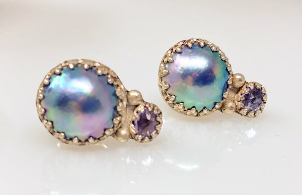 Sea of Cortez blue mabe pearl stud earrings with tanzanite