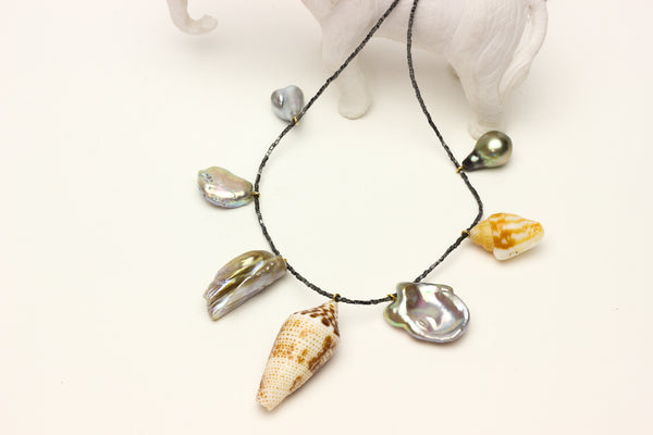 whistling into town #6 - tahitian, freshwater, South sea pearls and shells