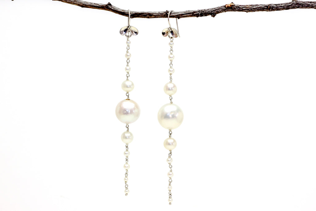 happier white pearl earrings