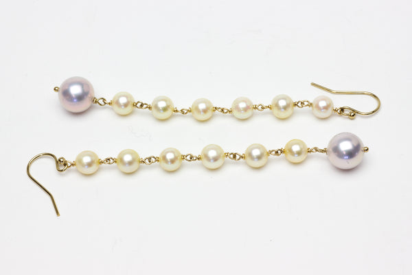 vintage akoya and metallic pink pearl dangle earrings