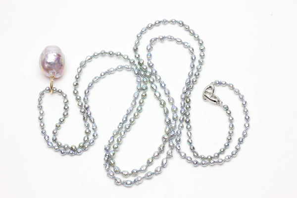 "*limited edition* tiny blue akoya ""perfect pearl chain"""