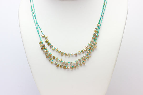 layer with love turquoise and pearl necklace