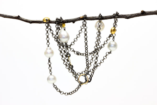 high contrast South Sea pearl chain necklace