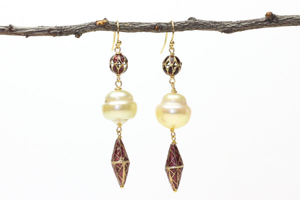 south sea pearl lantern earrings