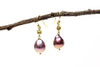 metallic purple fresh water pearl earrings
