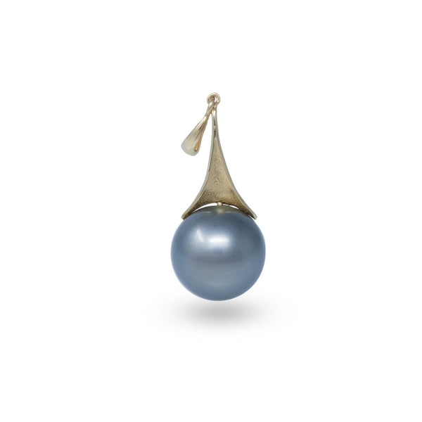 Perfect round steel gray Tahitian pearl pendant