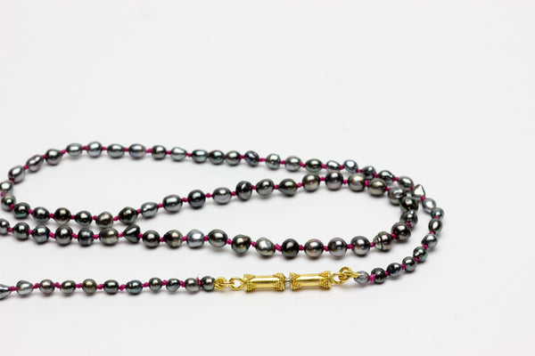 tiny Tahitian keshi pearl necklace