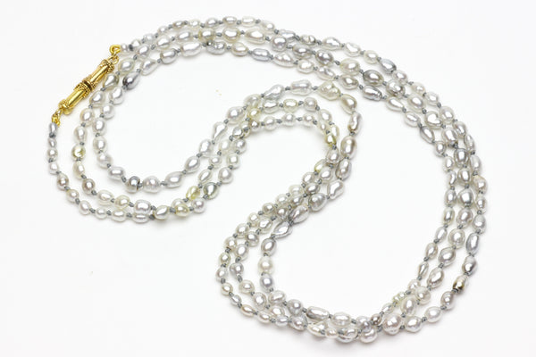 tiny silver Tahitian keshi pearl rope necklace
