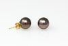 eggplant tahitian pearl stud earrings