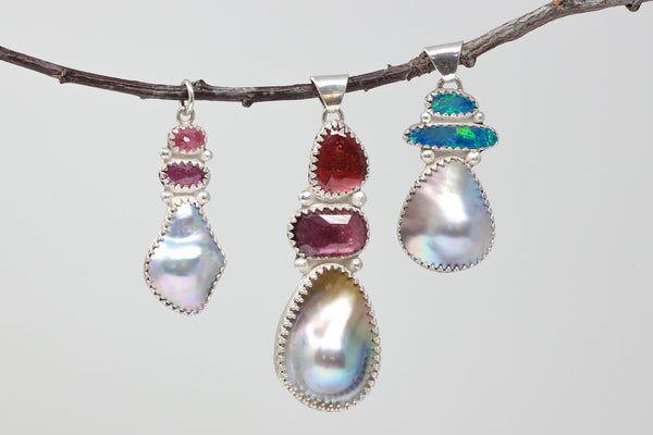 Sea of Cortez pearl and opal pendant