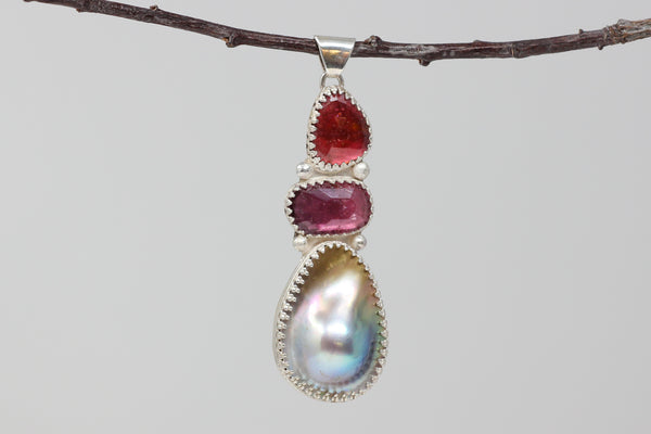 giant Sea of Cortez mabe pearl and tourmaline pendant