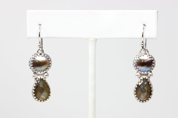 Sea of Cortez mabe and labradorite earrings