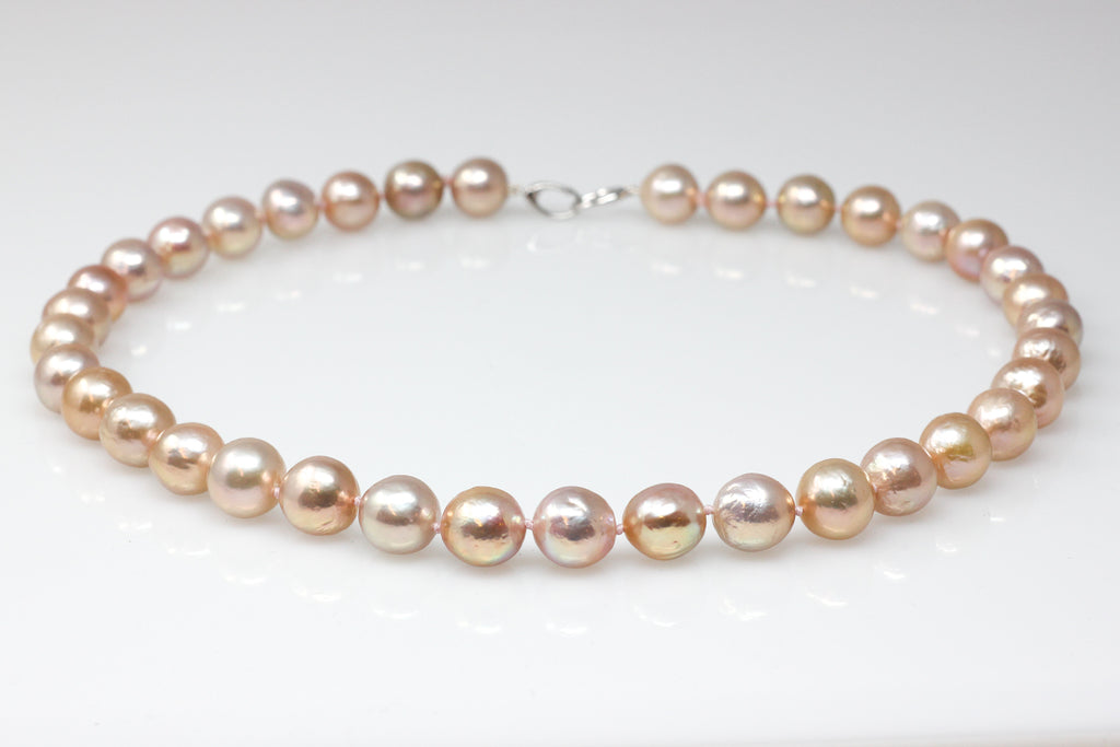 champagne pink metallic luster pearl necklace