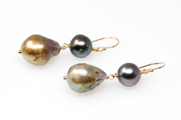 sweet Tahitian and Japan Kasumi pearl earrings