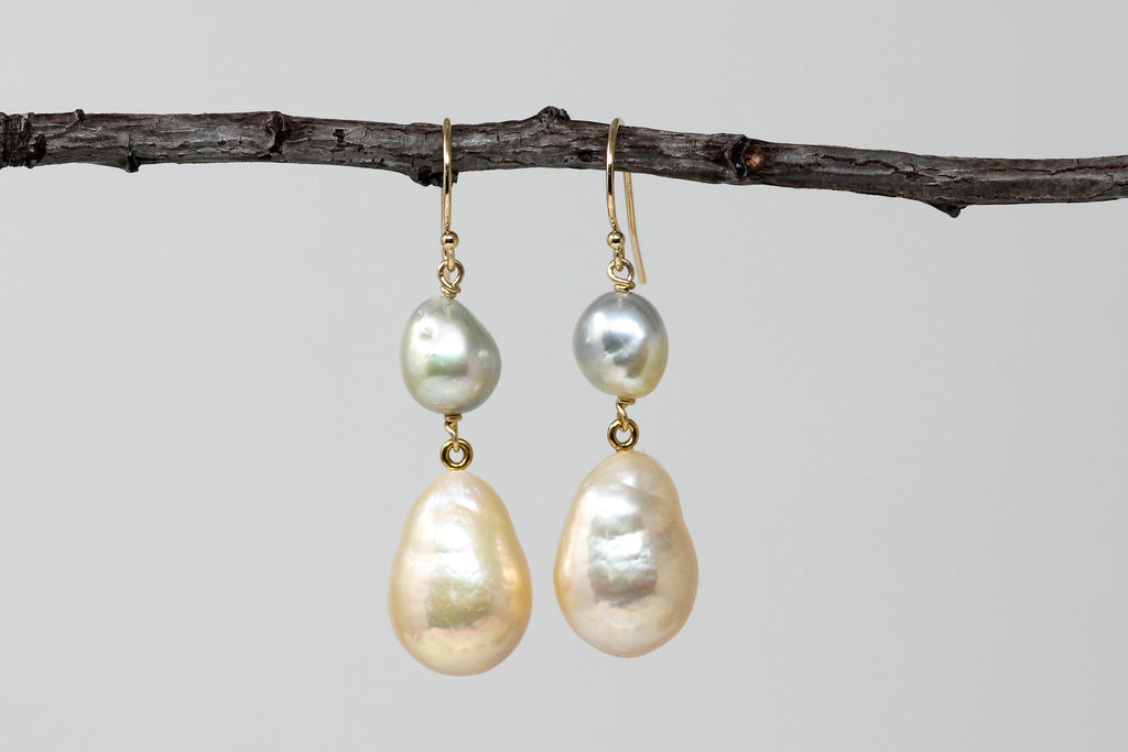 metallic champagne drops and japan akoya pearl earrings
