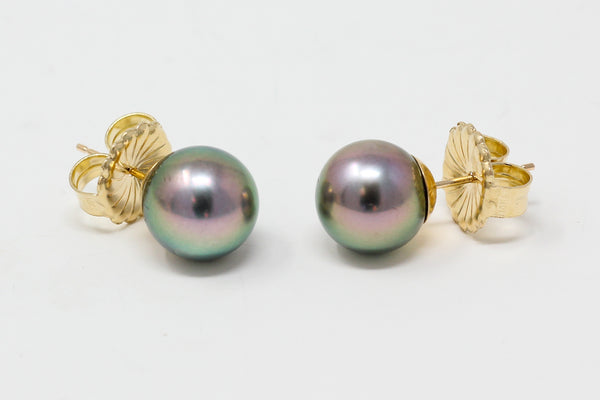 """fish eye"" pink over green Tahitian pearl stud earrings"