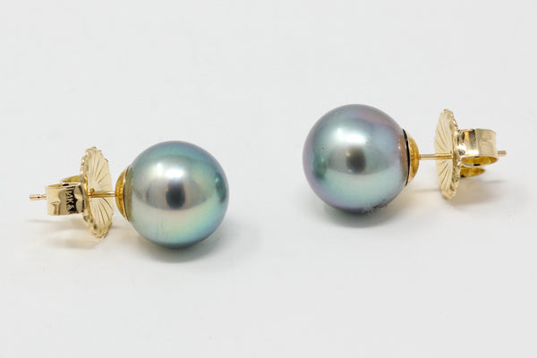 brilliant blue Tahitian pearl stud earrings